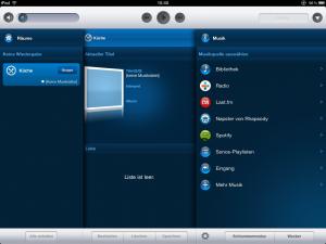 Sonos Oberfläche auf dem iPad mit nur einer Komponente